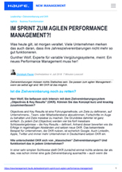 Entgelt Fachartikel Agile Performance Management